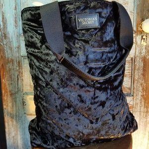 Victoria's Secret Black Crushed Velvet Tote Bag